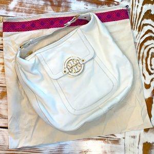 Tory Burch White Gold Amanda Flat Hobo Leather Bag